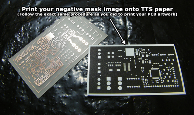 Solder mask printed on TTS paper