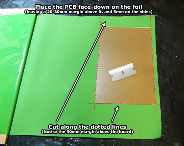 Green TRF foil with PCB above