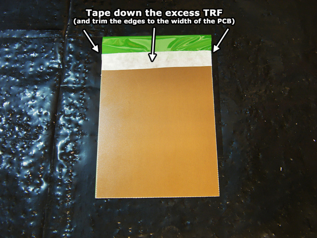 Green TRF foil trimmed to size and taped into place
