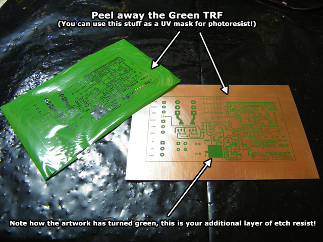 Green TRF foil peeled away from the PCB