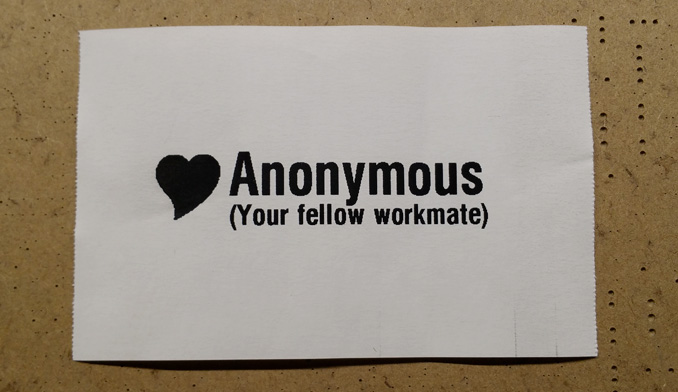 Love Anonymous printout, with heart graphic